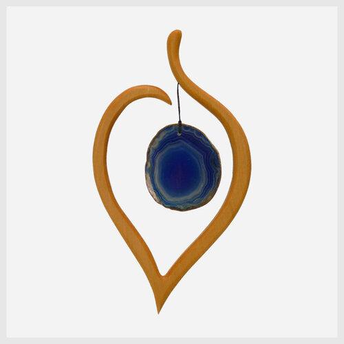 """Window Decoration Agate """"Linden Leaf"""" blue"""